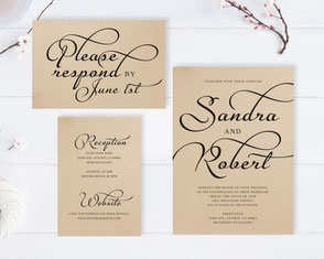 wedding invitations printed on kraft paper