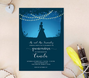 String Lights Quinceanera Invitations