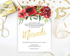 Red and Gold Quinceanera Invitations