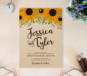 sunflower wedding invitations cheap