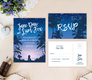 Hawaiian marriage invitations