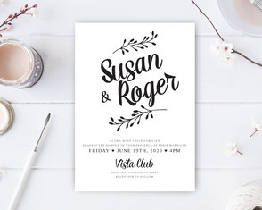 Simple style wedding invitations