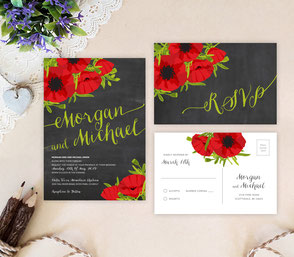 Black and red wedding invites