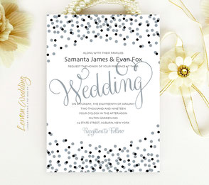Silver confetti wedding invitations
