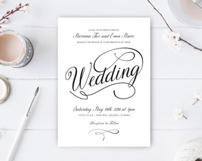 Classic wedding invitations with calligraphy text