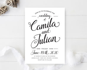 Simple wedding invitations