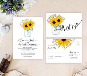 Mason jar wedding invitations