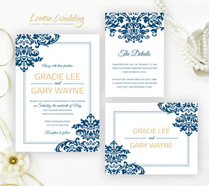 Royal blue and gold wedding invitation packages