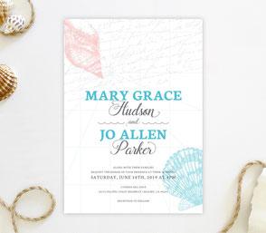 Seashell themed wedding invitations