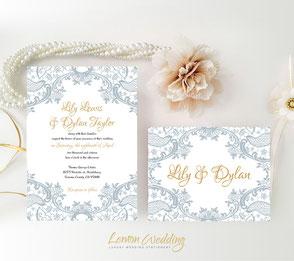 Grey lace wedding invitations