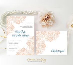 Blush wedding invites