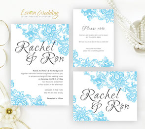 Blue lace wedding invitation sets
