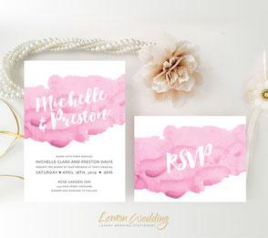 Pink wedding invites