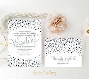 Silver and black wedding invitations | confetti themed