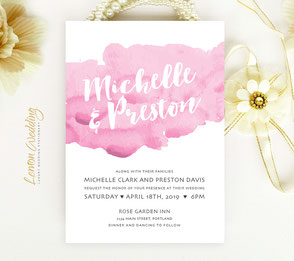 Watercolor pink wedding invitations