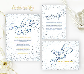 navy blue and silver wedding invitation sets
