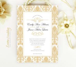 Golden wedding invites | Damask themed