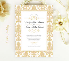 Golden wedding invites | Damask themed