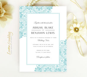 wedding invitations aqua
