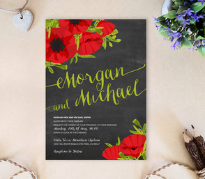 Black and red invitations