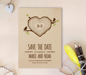 tree stump save the date invitations