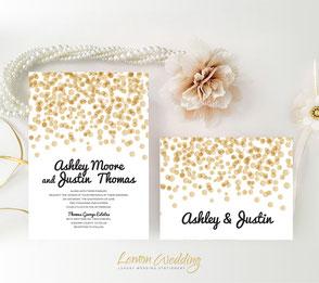 Polka dot wedding invitations cheap