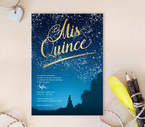 Under the Stars Quinceanera Invitations