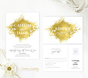 gold wedding invitations cards