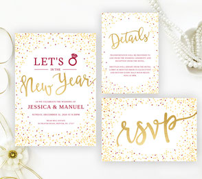 Unique New Year's Eve Wedding Invitation sets