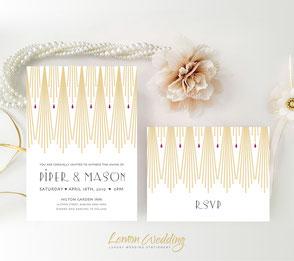 gold wedding invitation | art deco wedding invitations  printed