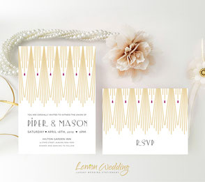 art deco gold wedding invitations