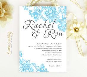 Blue lace wedding invitations