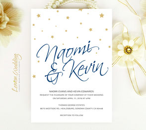Affordable wedding invitations | Gold and navy wedding