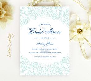 Beach wedding shower invitations