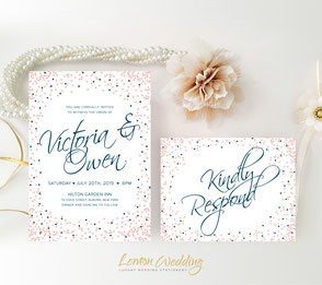 Navy and pink wedding invitations