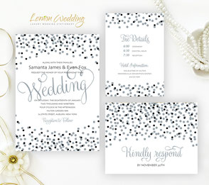 black and silver confetti wedding invitation packages