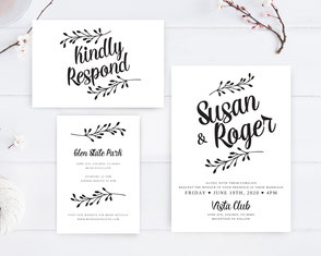 Simple wedding invitations + RSVP cards + Details cards