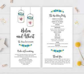 mason jar wedding programs
