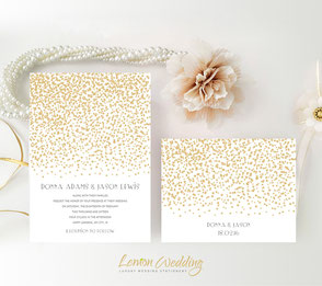 Gold and white wedding invitations cheap
