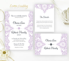 Purple and white invitations | lace wedding