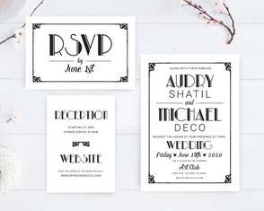 Retro themed wedding invitations