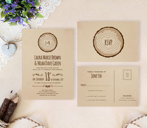 tre stump rustic wedding invitatations
