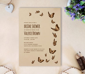 rustic bridal shower invitation cards