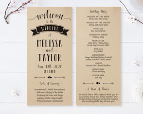 Kraft paper wedding ceremony programs
