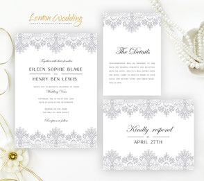 grey lace wedding invitation sets