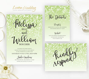 Green wedding invitation packs