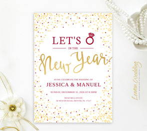 gold and burgundy wedding invitation