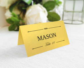 Gold metallic wedding name cards