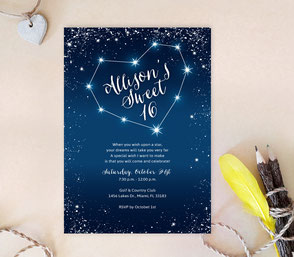 Constellation Quinceanera Invitations