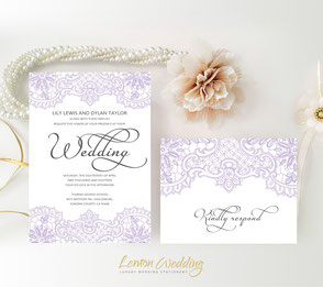 Purple and grey lace wedding invitations